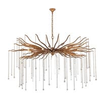 "Willow  Collection Chandelier  D60"" H35.125"" Drizzled antique gold Finish"
