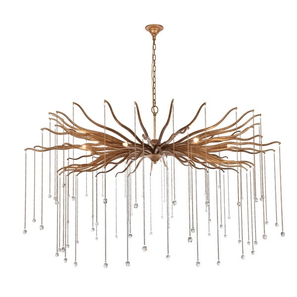 """Willow Collection Chandelier D60"""" H35.125"""" Drizzled antique gold Finish"""