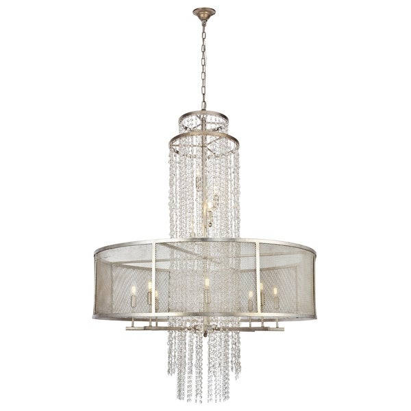 "Legacy Collection Chandelier D42"" H56"" Antique Sliver Leaf Finish"
