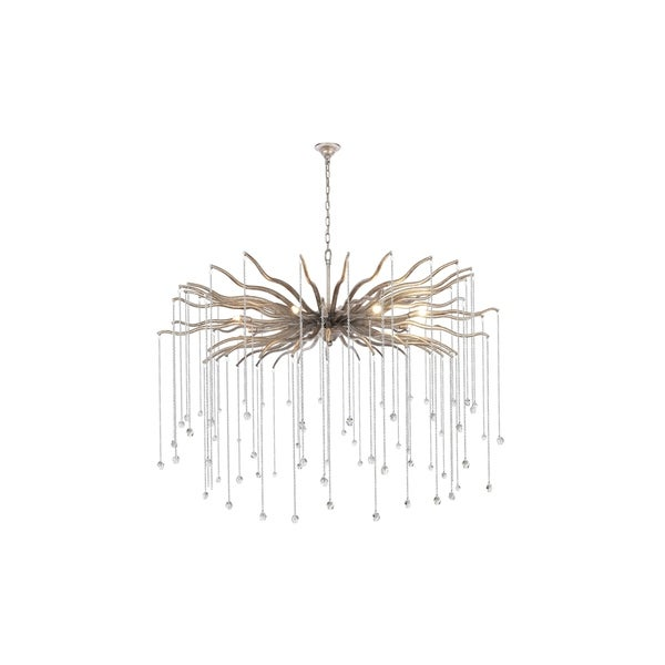 "Willow Collection Chandelier D48"" H33.625"" Drizzled antique sliver Finish - Silver"
