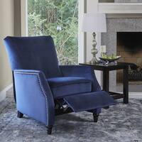 ProLounger Navy Blue Velvet Push Back Recliner Chair