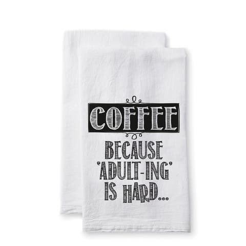 """Uplifting Linens Towels """"Coffee Adult-ing"""" -Set of 2"""