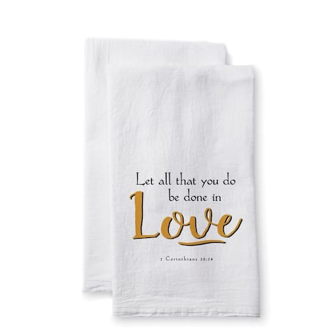 """Uplifting Linens Towels """"Let All That You"""" -Set of 2"""