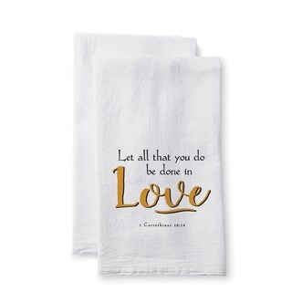 "Uplifting Linens Towels ""Let All That You"" -Set of 2"