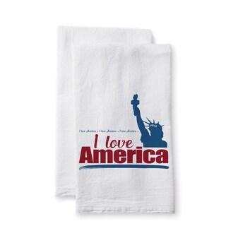 "Uplifting Linens Towels ""I Love America"" -Set of 2"