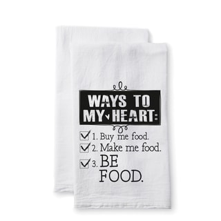 "Uplifting Linens Towels ""Way to My Heart"" -Set of 2"