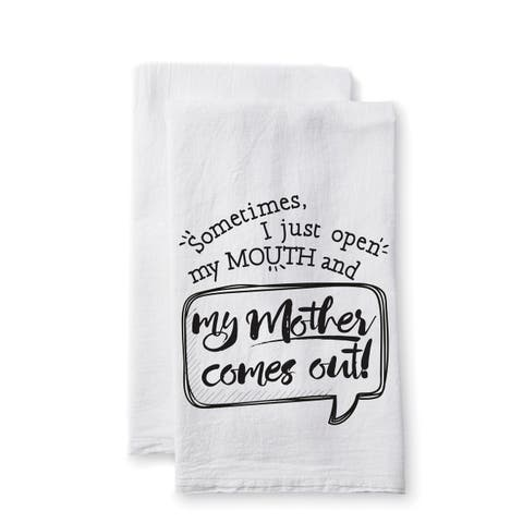"""Uplifting Linens Towels """"Sometimes My Mother"""" -Set of 2"""