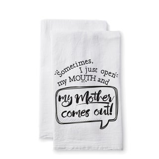 "Uplifting Linens Towels ""Sometimes My Mother"" -Set of 2"