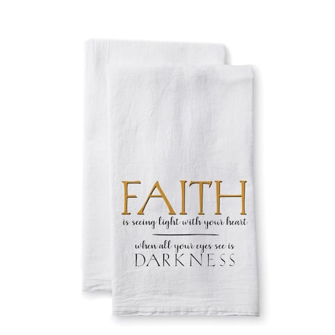 """Uplifting Linens Towels """"Faith is Seeing"""" -Set of 2"""