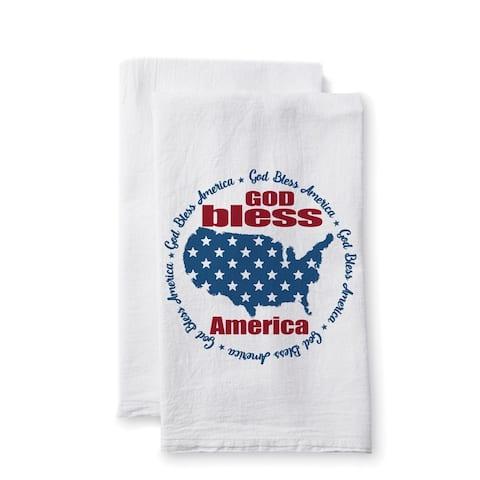 "Uplifting Linens Towels ""God Bless America"" -Set of 2"