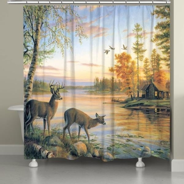 Shop Laural Home Buck And Doe Sunset Shower Curtain