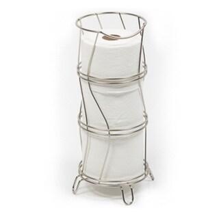 Richards Homewares Toilet Paper Storage Reserve Holder - Satin Nickel Finish  Round & Wavy Design