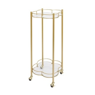 Leona 2-Tier Quatrefoil Bar Cart, Gold