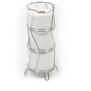 Richards Homewares Toilet Paper Storage Reserve Holder - Chrome Finish  Round & Wavy Design