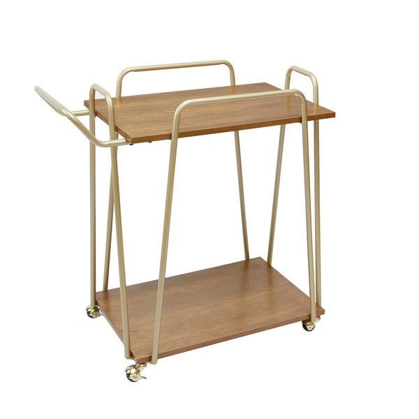 Emory 2-Tier Hairpin Bar Cart, Gold