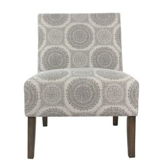 HomePop Carson Grey Medallion Armless Accent Chair