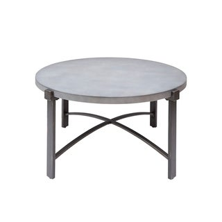 Lewis Coffee Table with Round Concrete Finish Top
