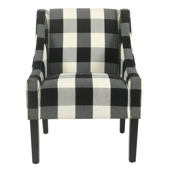 HomePop Modern Swoop Accent Chair   Black Plaid