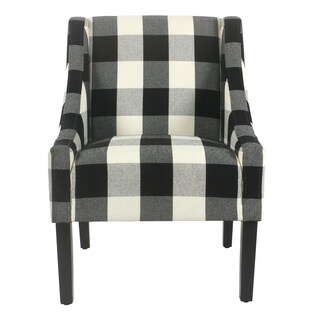 HomePop Modern Swoop Plaid Black Accent Chair
