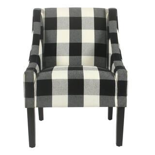 HomePop Modern Swoop Accent Chair - Black Plaid