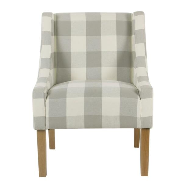 Porch U0026amp; Den Los Feliz Lyric Modern Swoop Accent Chair   Gray Plaid