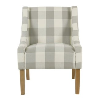 Porch & Den Los Feliz Lyric Modern Swoop Accent Chair - Gray Plaid
