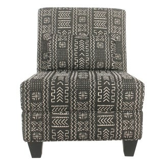 HomePop Global Slipper Black Large Accent Chair