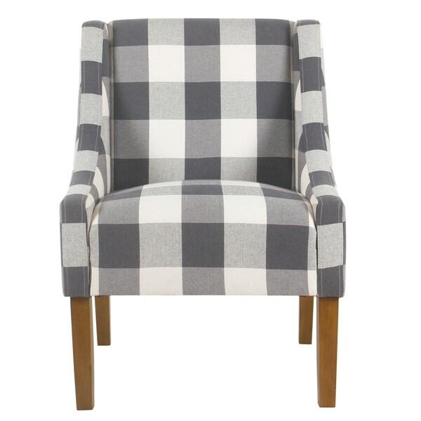 Shop Homepop Modern Swoop Accent Chair Blue Plaid On