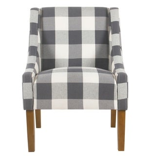 HomePop Blue Plaid Modern Swoop Accent Chair