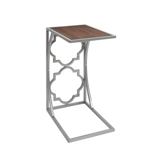 Charlette Nickel Finish End Table with Quatrefoils