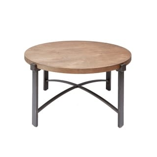 Lewis Coffee Table with Round Wood Top