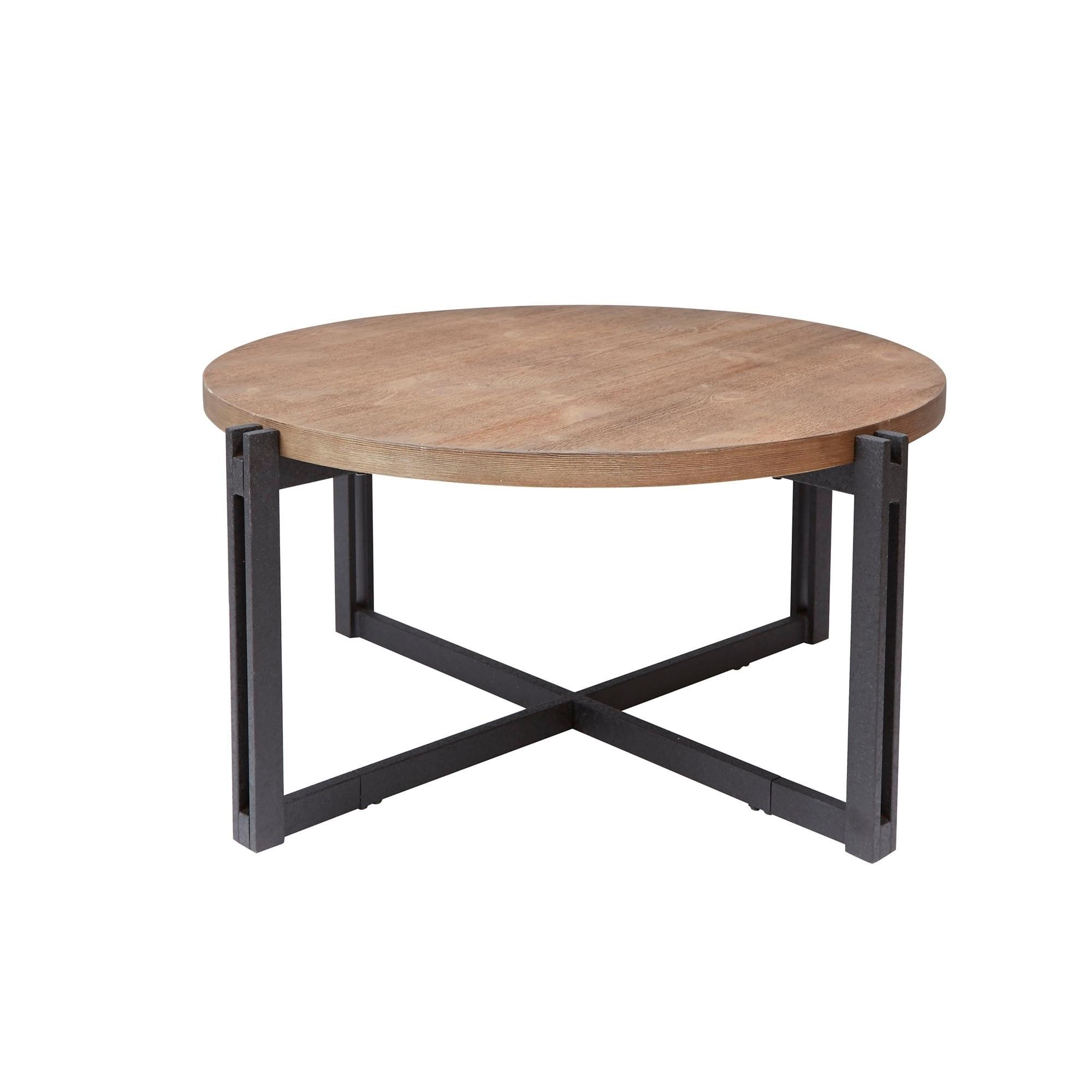 Dakota Iron Sled Base Cross-frame Coffee Table with Round...