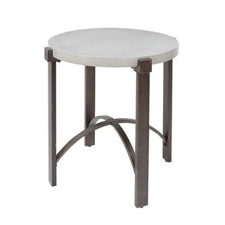 Lewis End Table with Round Concrete Finish Top