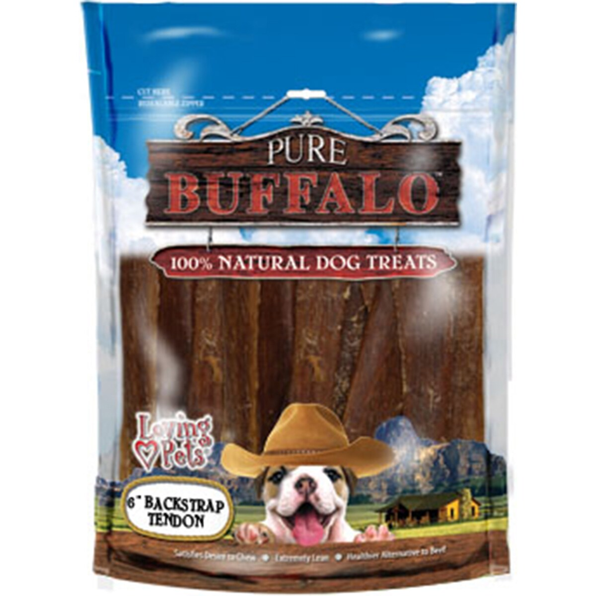 "Loving Pets Products Pure Buffalo 6"" Backstrap Tendon Dog..."