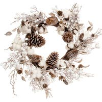 Cotton & Cone Wreath 24""