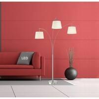 "Artiva LUCE 84"" Modern LED 3-Arch Brushed Steel Floor Lamp w/Dimmer"