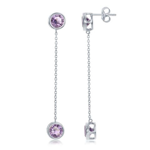 La Preciosa Sterling Silver Round Blue Topaz or Amethyst Bezel-Set w/Hanging Bezel Set Gemstone Earrings
