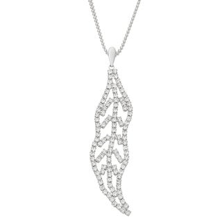 Isla Simone Rhodium Plated Abstract Leaf Pendant Necklace with White Crystals