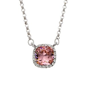Isla Simone Rhodium Plated Vintage Rose Pendant Necklace, Made with Swarovski Elements