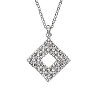 Isla Simone White Rhodium Plated Mini Triple Row Square Pendant Necklace with Crystals