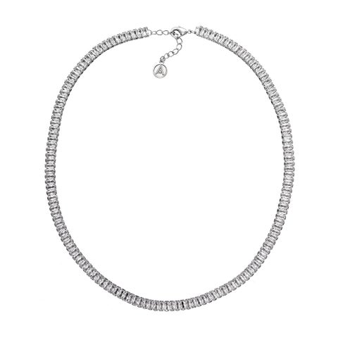 Isla Simone Rhodium Plated Clear Baguette Crystal Necklace