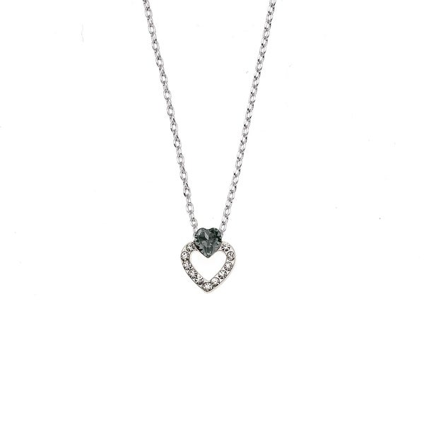 83faf847737200 Shop Isla Simone Rhodium Plated Black Diamond Heart Pendant Necklace ...