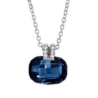 Isla Simone Rhodium Plated Denim Blue Cushion Cut Pendant Necklace, Made with Swarovski Crystals