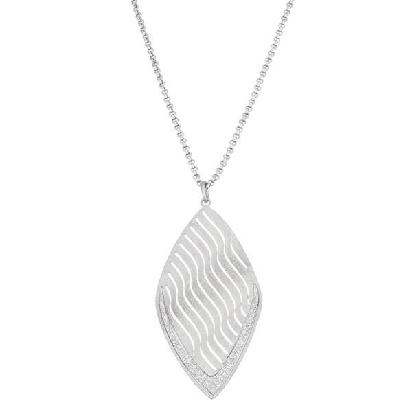 Shop isla simone fine silver plated wave pattern diamond shaped isla simone fine silver plated wave pattern diamond shaped pendant necklace with sparkle finish aloadofball Images