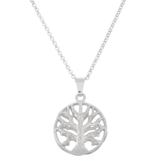 Isla Simone Fine Silver Plated Round Tree of Life Cut Out Pendant Necklace