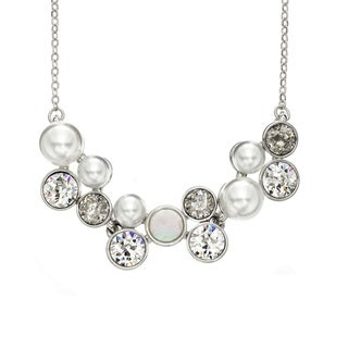 Isla Simone Rhodium Plated Patina Five Station Flower Necklace with Crystal and Mother of Pearl