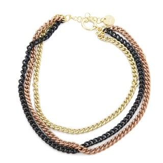 Isla Simone 18K Gold, Rose Gold, and Sterling Silver Plated Triple Chain Necklace