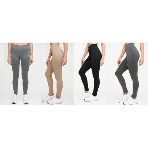 RAG Womens French Terry Soft Heathered Leggings (Pack of 4)
