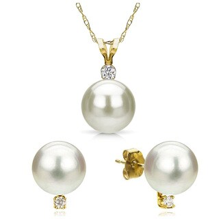 """DaVonna 14ky Gold White Freshwater Pearl and Diamond Stud Earrings Chain Pendant Necklace Jewelry Set 18"""""""
