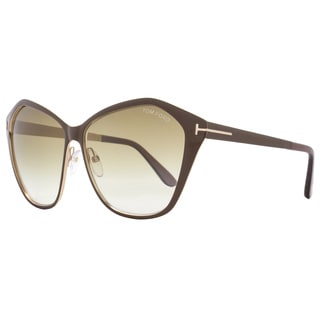 Tom Ford TF391 Lena 48F Women's Brown/Gold/Brown Gradient Lens Sunglasses